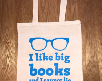 I like big books 100% cotton shopping tote book bag