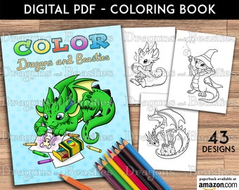 Color Dragons and Beasties -  Kids / Adult Coloring Pages - Cute Printable Fantasy Art  - Digital Coloring Book
