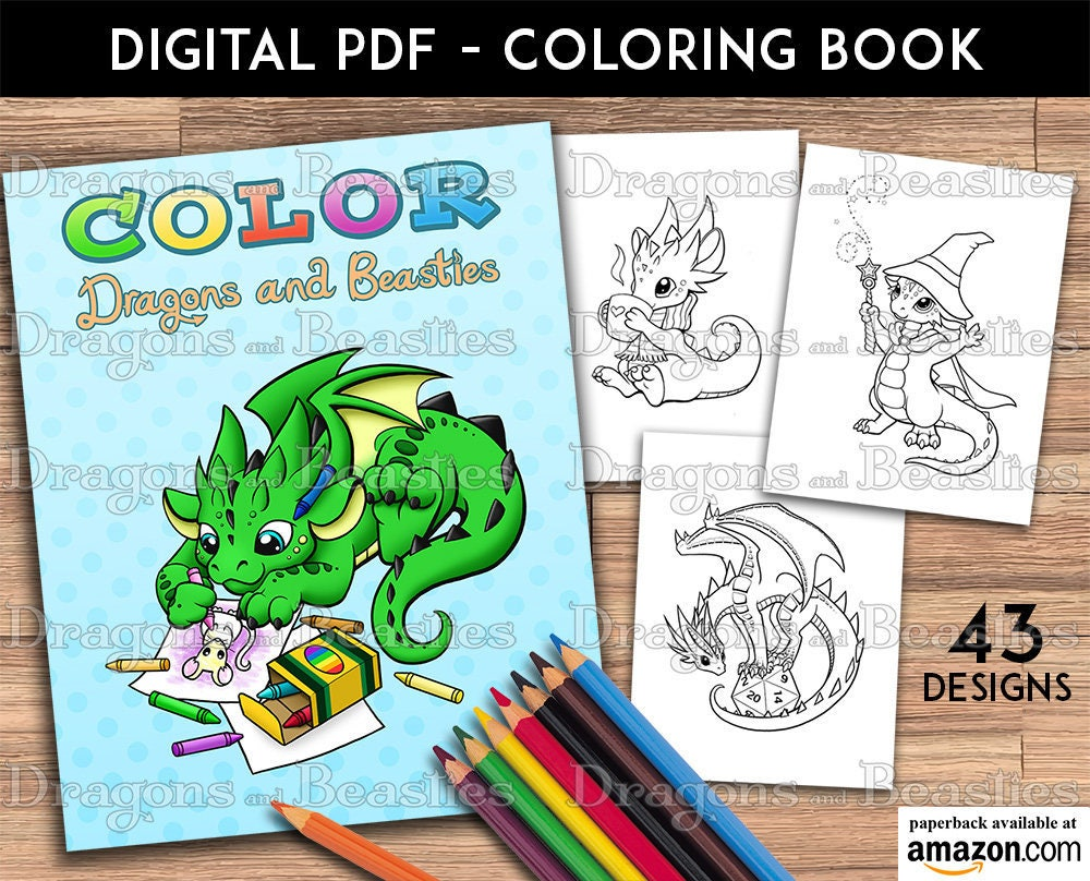 Color Dragons and Beasties Kids / Adult Coloring Pages