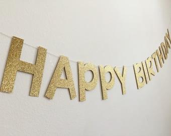 Gold Birthday Banner, Happy Birthday Banner, Birthday Banner, Glitter Birthday Banner, Silver Birthday Banner, Birthday Party Decor