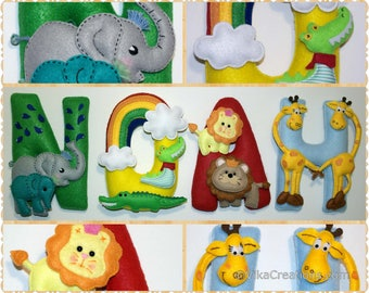 Noah's Ark Name Birthday Banner, Boy or Girl, Personalized Felt Name Garland/Bunting, Birthday Party Room Wall Decoration