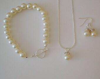 4 Bridesmaid Gift Sets, Wedding Jewelry Set - Bridal, Bridesmaid Pearl Jewelry Set Necklace Bracelet Earrings, Bridesmaid Jewelry