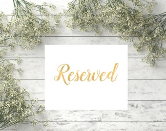 Reserved sign Printable gold wedding sign Wedding Reserved Table Sign Instant download Printable Reserved Signs for Wedding Reserved sign