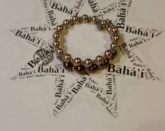 Baha'i prayer beads, Baha'i 19 and 5 prayer bead bracelet, memory wire wrap bracelet, Baha'i bracelet, brown glass pearls, Baha'i