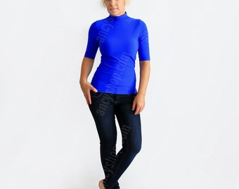 Blue Mock Neck, Slim Fit Turtleneck, Fall Sweater, High Neck Top, Roll Neck Shirt, Short Sleeve Turtleneck, Bright Blue Top, Turtleneck Top