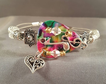 "Guitar pick and guitar string bracelet ""Colorful Music"""