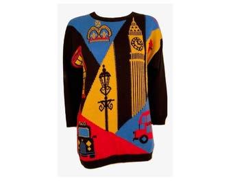 Retro London Themed Sweater Dress, Oversized Sweater, Retro Sweater, London Sweater