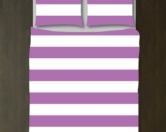 Custom Rugby Striped Duvet Bedding Set-Radiant Orchid and White-Customize Colors You Want-Twin XL-Full/Queen-King-Preppy Home Decor-Size