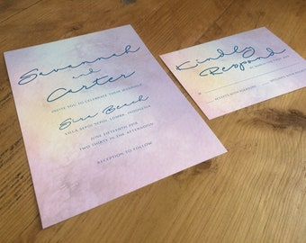 Printable Watercolour Wedding Suite including Invitation and matching RSVP
