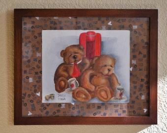 Coffee Loving Bears acrylic painting