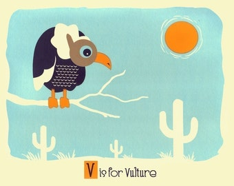 Kids Wall Nursery Art - V is for Vulture - Alphabet Print - Screenprint Animal Art Print