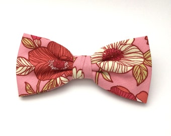 Floral Bow Tie Clip-On Salmon Pink Flower Pre tied Country Men Women Teen Boy Baby Toddler Children Wedding Bow tie for Groom Groomsmen