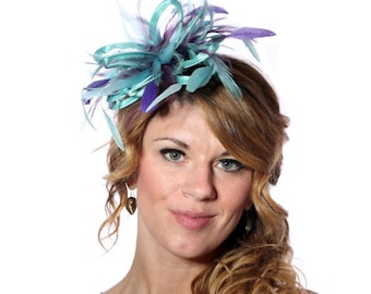 Aqua and Purple Feather Fascinator Hat - wedding, ladies day - choose any colour feathers and satin