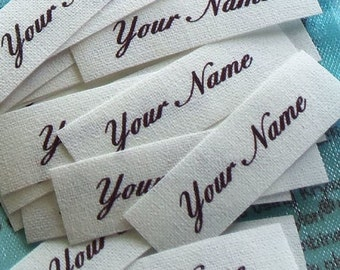 "85 - 1/2"" x 1 1/2"" Sew On Cotton Fabric Clothing Labels White Name Tags Personalized Identification Craft Supply"