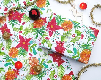 A2 Christmas Poinsettia and Clementine Wrapping Paper Sheets