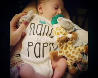 Custom I love My Nana and Papa - Grandparents Bodysuit - Nana and Papa Baby Clothes