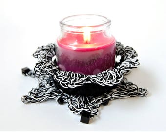 Black and White / Candle holder / small / votive cup / handmade / gift for her / gift for him / stripped / centerpiece / thedustyhovel
