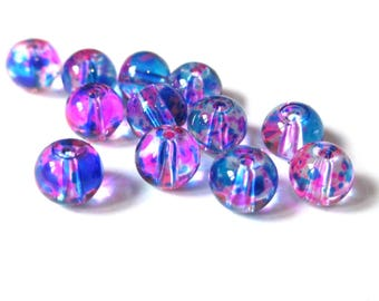 20 transparent beads wire fuchsia and blue 6mm