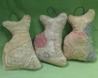 Set of 3 Quilted Cat Ornaments