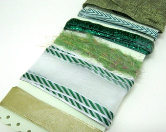 GREEN, OLIVE and WHITE ribbons and trims assortment, 1 yard, wired-glitter-fringe-satin trims