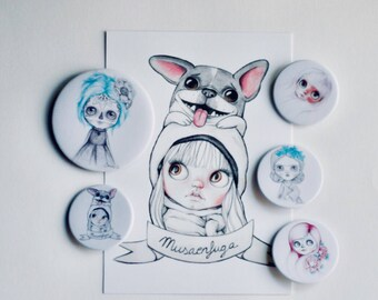 Blythe pins-illustrated blythe pins, art blythe pins, illustrated blythe pins