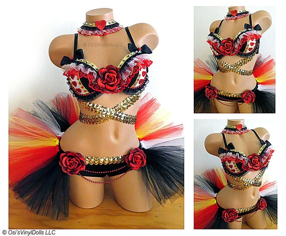 Queen of Hearts Rave Outfit Bra Half TuTu Collar Alice in