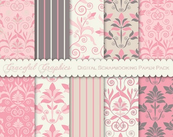 Scrapbook Paper Pack Digital Scrapbooking Background Papers DAMASK 10 8.5 x 11 Lotus Flower PINK Gray Tan White 1807gg