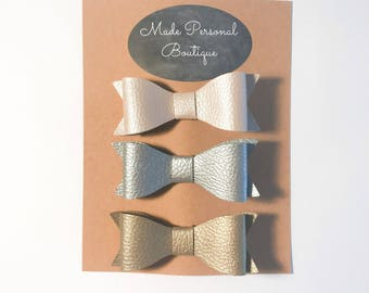 Leather Hair Bows Baby Headband Set Pink Gold and Silver Bows for Baby and Toddler - Headband and Clips