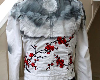 moon jacket mystical night red flowers customized
