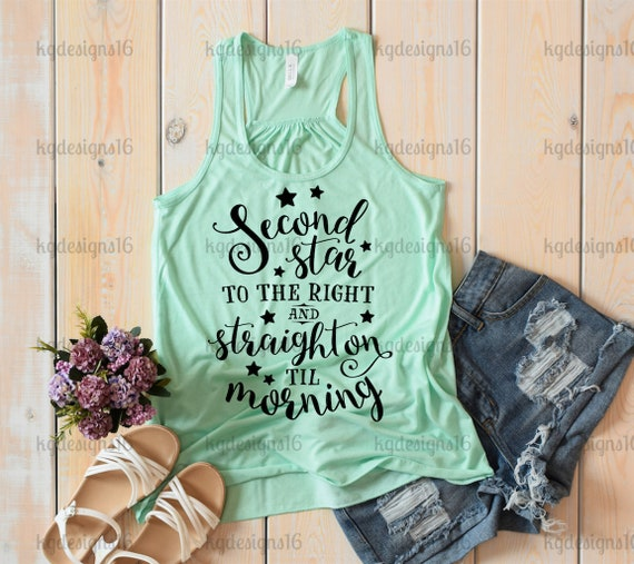 Second Star To The Right Tank Top-Peter Pan Tank Top-Vacation Shirt-Flowy Tank Top-Loose Fit-30 Colors