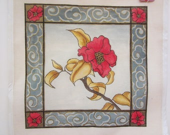 "Hand Painted Needlepoint Canvas, Poinsettia with Gold Leafs, Pillow Top, 14""x14"""