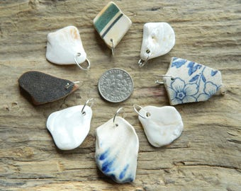 8 Drilled Sea pottery and shell pendant Pieces With 10 mm silver plated Jump Rings