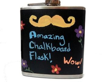 Chalkboard Vinyl Flask- liquor, wedding, bridal party, hip pocket