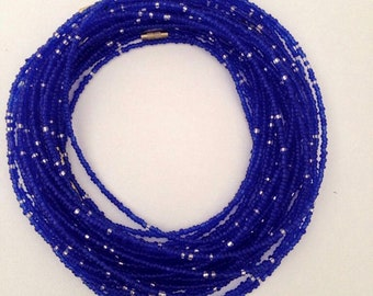 Vibrant Royal Blue African Waistbeads - Belly Beads - African Jewelry