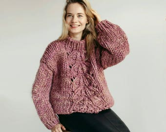 Chunky knit sweater Merino wool sweater Cozy sweater Cute sweater Wool jumper Anitque rose Cable knit sweater Crew neck chunky sweater