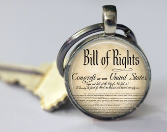Bill of Rights Keychain United States History Ten Amendments Constitution Patriotic Key Chain, Key Fob