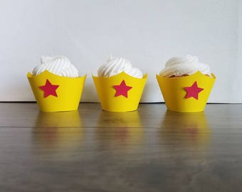 12 count yellow cupcake wrappers red stars Wonder Woman inspired cupcake wrappers