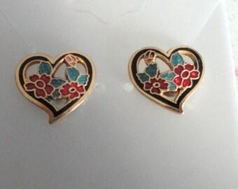 Cloisonne Heart Gold Tone Pierced Post Earrings