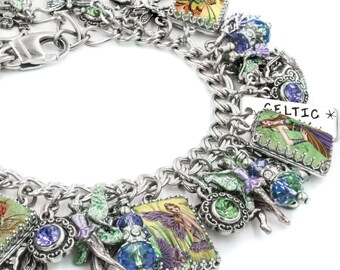 Irish Fairy Charm Bracelet, Fairy Jewelry, Emerald Charm Bracelet, Celtic Fairy, Irish Jewelry, Fairies Bracelet