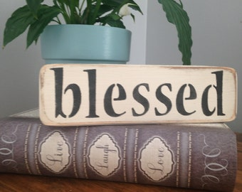 """Distressed Wooden """"BLESSED"""" Sign"""