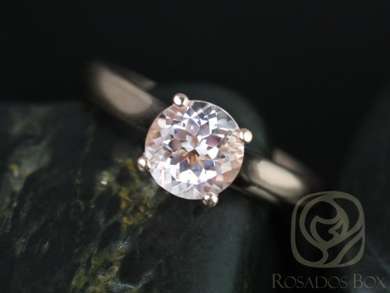 Rosados Box Hannah 7mm 14kt Rose Gold Round Morganite Cathedral Solitaire Engagement Ring