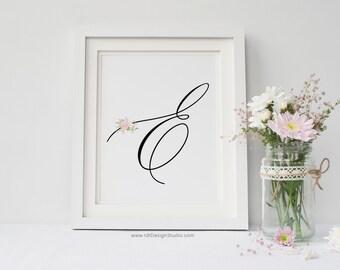 Letter E Wall Art, Cadre, Nursery Decor, Nursery Monogram Print, Nursery Wall Art, Monogram Printable, Initial Print, Christmas Gift, DT213
