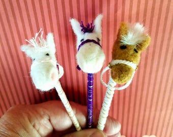 Needle Felted Doll Sized Stick Ponys