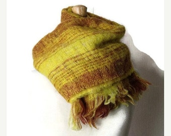 ON SALE Vintage Yellow x Brown Plaid/Checked  Mohair Scarf /67 x 20.5*