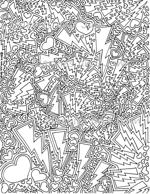 Lightning and hearts printable adult coloring page for Immagini estate da colorare