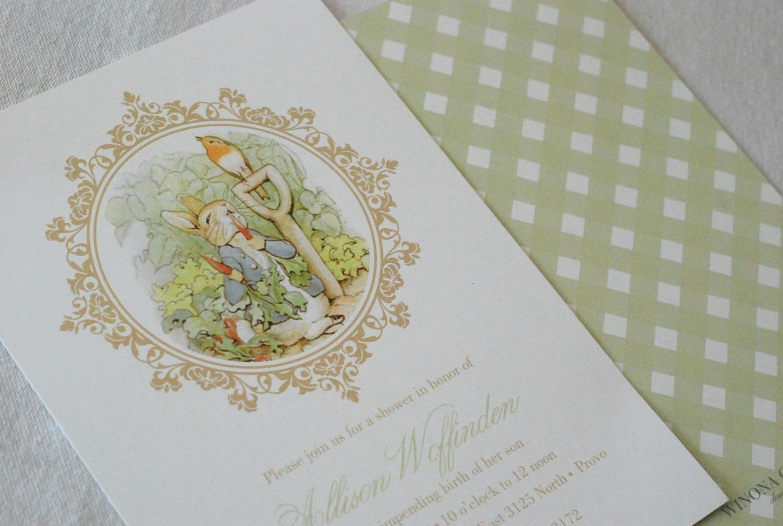 PRINTABLE Peter Rabbit Baby Shower Invitation