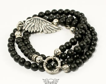 ROSARY NECKLACE, 100% Sterling Silver Necklace - Mens Necklace - Black Onyx - Mens Jewelry - Angel Wing