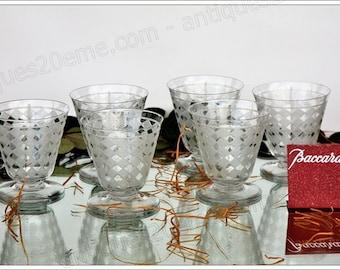 Set of 6 Burgundy wine glasses in Baccarat crystal Quiberon model, Art Deco