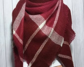 Red Wine Blanket Scarf for Women, Winter Scarves