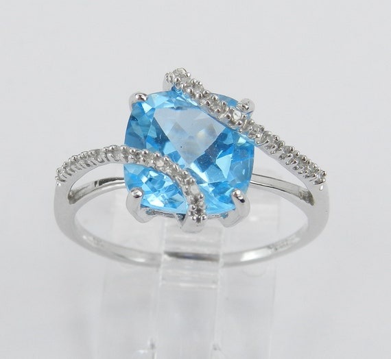Diamond and Cushion Cut Blue Topaz Engagement Promise Ring White Gold Size 7 December Gem